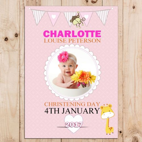 Personalised Girls Pink Christening Baptism Party PHOTO Banner Poster N63
